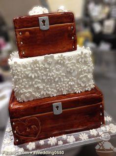 "Design W 0550 | Fondant Wedding Cake | 10""+ 8""+ 6"" | Serves 100 | Wood Box finish, fondant flowers | Custom Quote"