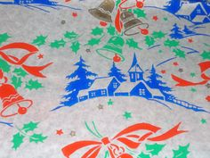 Vtg Christmas Wrapping Paper Gift Wrap Church Bell Smart Brand 2 Sheets 1940 WW2 | eBay