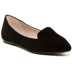 Aldo Niressi Slip-On ($32) ❤ liked on Polyvore featuring shoes, flats, black, black flats, pointed toe shoes, black pointed toe flats, pointy toe flats and black slip-on shoes