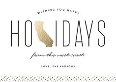 """West Coast Greetings"" - Cities & States, Modern Holiday Cards in Golden by Erica Krystek."