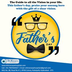 He trusts you more than he trusts himself. Appreciate the trust with a gift of clear vision. Happy Fathers Day 2020!  #HappyFathersDay #Dad #Hero #trust #guide #giftofvision #visioncare #eyecarehyderabad #parents #care #fatherslove #papa #glasses #DrKiransEyeHospitals Fathers Love, Happy Fathers Day, Graduation Post, Care Hospital, Medical College, Holistic Approach, Medical Science, Hyderabad, Trust Yourself