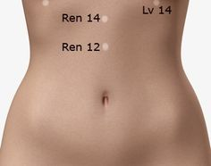 This acupressure point is located precisely half way between the sternum and the belly button, just 4 inches above the belly button