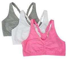 75fc68810e Fruit of the Loom Women s Adjustable Shirred Front Racerback Bra (Pack of  Neon Pink Heather White Grey Heather