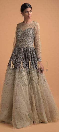 Buy Online from the link below. We ship worldwide (Free Shipping over US$100)  Click Anywhere to Tag Mushroom Grey Ball Gown In Net Kundan Work In Gradient Pattern Online - Kalki Fashion Mushroom grey ball gown in net kundan work in gradient pattern.Designed with full sleeves, illusion neckline and cut out back.This piece comes with cancan. Reception Gown, Full Sleeves, Illusion Neckline, Bridal Gowns, Ball Gowns, Stuffed Mushrooms, Free Shipping, Formal, Grey