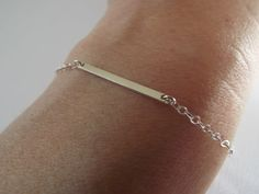 Sterling Silver bar bracelet  925 dash line thin by West9th