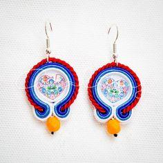Eye-catching, Dangle, Colourful, Handmade, Medium, Soutache Earrings, Polish Folklore Pattern