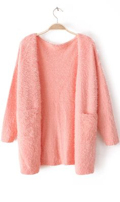 Pure color mohair long sleeved soft cardigan pink
