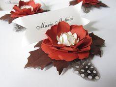 Tarjetas de lugar de flor de papel hecho a mano por carrieklein
