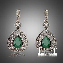 2014 Fashion Green Vintage rhinestone pendant restoring ancient Earrings for Women brincos de festa pendientes(China (Mainland))