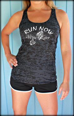 Womens Workout Gym Tank. Inspirational Tank Top. by BraveAngelShop, $20.99 - Run Now Wine Later - Fun Workout Clothes!