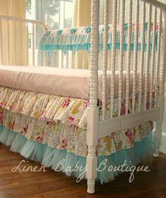 Princess Crib. Aqua Tulle Baby Bedding.   Pieces by LinenBaby, $293.00