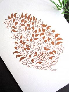 Copper Leaves Folding Cards - Set of 20 #paisley