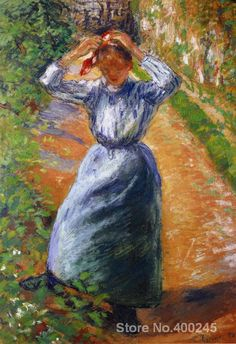 Canvas Art Reproduction Peasant Donning Her Marmotte Camille Pissarro Paintings for sale hand-painted High quality
