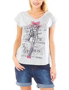 Camiseta con estampado de gato                             gris Mujer
