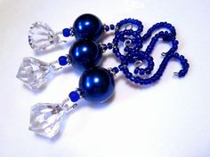 Chunky Cobalt Blue Pearl Christmas Ornament by ChristmasisMagical