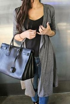 Grey Turn-Down Collar Gray Long Sleeve Cardigan