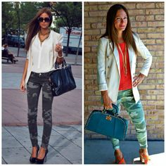 Our cream blazer looks great with camo!