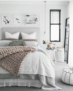 Gray Bedroom Ideas Gray is the new white! Love the way this color is paired with serene tones for a calming bedroom decor.Gray is the new white! Love the way this color is paired with serene tones for a calming bedroom decor. Calming Bedroom, Room Inspiration, House Interior, Bedroom Makeover, Apartment Decor, Bedroom Inspirations, Bedroom Design, Home Bedroom, Home Decor