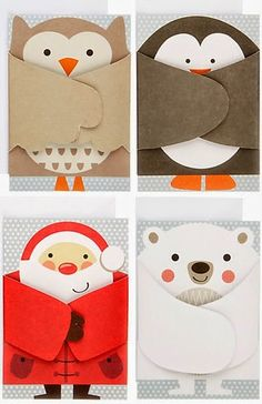 adorable shaped cards: print & pattern: XMAS 2013 - john lewis part 1 . luv the fold over wings, arms . Cute Christmas Cards, Christmas Crafts, Christmas Decorations, Origami Christmas, Christmas Card Ideas With Kids, Christmas Holiday, Christmas Cards Handmade Kids, Homemade Christmas Cards, Christmas Design