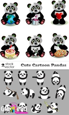 Vectors - Cute Cartoon Pandas