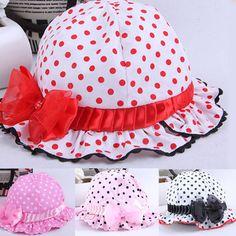 2aabd3197d9 Summer Beautiful Dots Bucket Hat With Bowknot Style  Fisherman Cap Kids  Very Kawaii Baby Girls