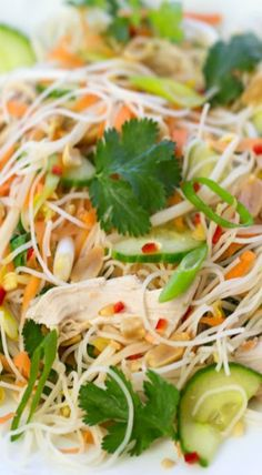 Vietnamese chicken noodle salad- really good! I doubled the sauce recipe so it wasn't really dry. Vietnamese Noodle Salad, Vietnamese Cuisine, Asian Noodle Salads, Asian Recipes, Healthy Recipes, Asian Cooking, Summer Salads, Soup And Salad, Food Inspiration