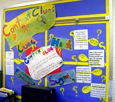 context clues bulletin board (picture only) Reading Strategies, Reading Skills, Teaching Reading, Reading Comprehension, Cafe Strategies, Vocabulary Strategies, Teaching Resources, Teaching Ideas, Student Teaching