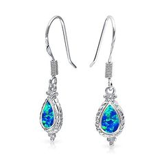 Bling Jewelry Vintage Style Teardrop Synthetic Blue Opal Dangle Earrings 925 Silver ** Check this awesome product by going to the link at the image.-It is an affiliate link to Amazon.