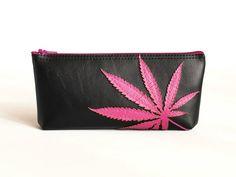 """Marijuana Leaf Clutch - Vegan Pot Leaf Pouch : Hot Pink Cannabis Leaf Silhouette on Black Vegan Leather - """"Amsterdamsel"""""""