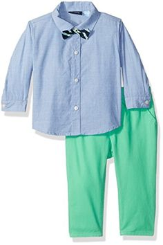 The Childrens Place BabyBoys Bow Tie Shirt and Pants Outfit Set Easter Egg Green 03 months >>> Learn more by visiting the image link.Note:It is affiliate link to Amazon.