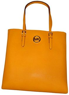 Women's Top-Handle Handbags - Michael Kors Jet Set Travel Large North South Tote  Saffiano Leather in Vintage Yellow *** Read more reviews of the product by visiting the link on the image.