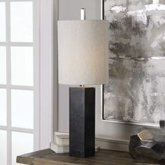 Delaney Buffet Lamp | Uttermost Square Columns, Marble Columns, Buffet Lamps, Table Lamps, Lamp Shade Store, Fabric Shades, Black Marble, Drum Shade, Accent Furniture
