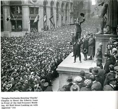 Charlie Chaplin on Wall Street, New York, 1918.