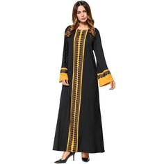 Babalet Womens  Modest Muslim Islamic Clothing Loose Soft O-Neck Color  Block Full Length Dubai Long Maxi Lace Abaya Runway Dress 43e6f1e6877a