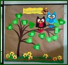 Cartaz aniversariantes                                                       … Classroom Decor, Activities, Education, Logos, Birthday, How To Make, Crafts, Iris, Facebook