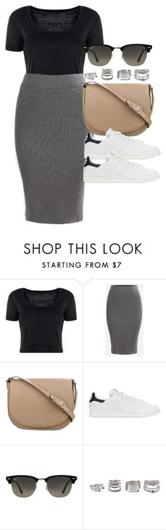 """""""Style #11407"""" by vany-alvarado ❤ liked on Polyvore featuring Boohoo, CÉLINE, adidas Originals, Ray-Ban and Forever 21"""
