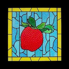 """Big Stained Glass Strawberry"" - 20"" x 20"" mixed-media painting on a deep, gallery-wrapped canvas; $200.00."