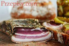 boczek-suszony Kielbasa, Polish Recipes, Smoking Meat, Italian Recipes, Bon Appetit, Tapas, Sausage, Sandwiches, Pork