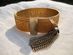Greek Key Adjustable Clasp Bracelet 1960s by AngiezillasBoutique, $29.99