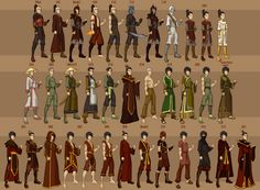 Zuko's wardrobe from Avatar. Why you such fashion addict Zuko? I don't even have that many clothes