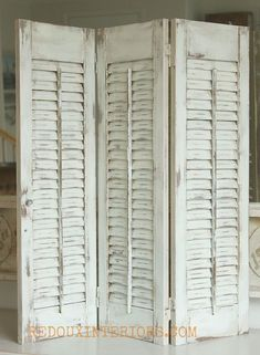 How to Paint Old Shutters and Use for Decor is part of Summer decor Paint - Old wood shutters get a brand new look with CeCe Caldwells Nantucket Spray, and secret no mess distressing tip! Repurposed Furniture, Shabby Chic Furniture, Diy Furniture, Repurposed Shutters, Distressed Shutters, Bedroom Furniture, Furniture Plans, Old Shutters Decor, Bedroom Shutters