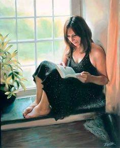 Mulher lendo, 2006 Tina Spratt (Irlanda, contemporânea) óleo sobre tela