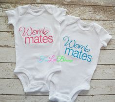 Twins - Womb Mates - two peas in a pod  triplets by 5littleblessings, $36.00