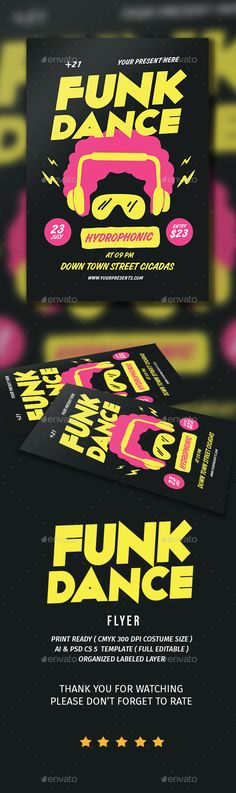 Funk Dance Flyer Template PSD, AI Illustrator. Download here: http://graphicriver.net/item/funk-dance-flyer/16584336?ref=ksioks