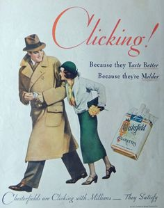 Chesterfield Cigarettes 30 s Print ad Color Illustration clicking 1932 Collier s Magazine Art