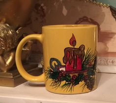 CHRISTMAS CANDLE 3 Hand-painted Coffee Mug