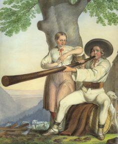 Henryk Jastrzembski akwarela Górale z Istebnej 1846 - Istebna