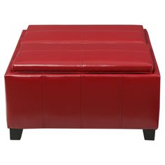 Mansfield Faux Leather Tray Top Storage Ottoman - Brown - Christopher Knight Home Red Ottoman, Leather Tray, Living Room Essentials, Ottoman In Living Room, Red Glass, Family Room, Christopher Knight, Cushions, Flooring