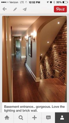 Brick wall staircase, and hidden, not at entrance of house - Interior Design Tips and Home Decoration Trends - Home Decor Ideas - Interior design tips Basement Entrance, House Entrance, Man Cave Entrance, Upstairs Hallway, Basement Remodeling, Basement Ideas, Basement Flooring, Basement Wainscoting, Wood Flooring