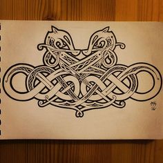 Dragons in Urnes style. Might add some shading and colours to it. Some of the details are hard to see. #urnesstyle #urnesstil #art #artwork #norse #vikingdesign #vikingage #vikingart #Scandinavia #uppland #home #knotwork #staedtler #ink #liner #inking #dragon #dragons #symmetrisk